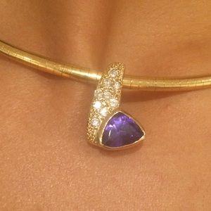 14K Yellow Gold Diamond/Tanzanite Omega Necklace